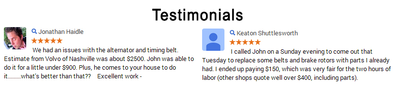 Mobile Mechanic Testimonial
